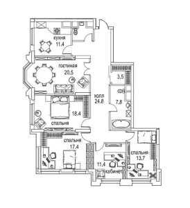 Планировка 4-комнатной квартиры в Алые паруса - тип 2